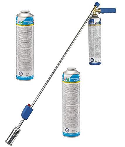 CFH Kit de jardinage bio PZ 4000 avec 1 boîte de gaz sous pression, brûleur piézoélectrique, 2 recharges de gaz