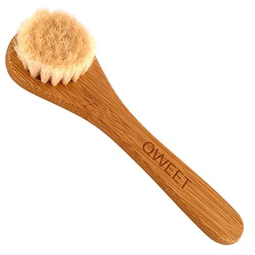 QWEET Cepillo manual de limpieza en seco de madera (bambú) y pelo de cabra para el cuidado facial Scrub Peeling Masaje exfoliante cara mujer y Cepillado pelo de bebé niña
