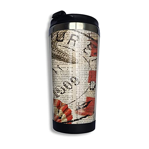 Shabby Chic Vintage Sea Shells Nautical Lighthouse Coffee Cup Stainless Steel Travel Mug Cup Water Bottle for Keep Hot Or Cold 400ml/13.5oz