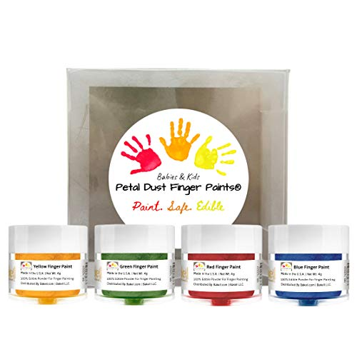 BAKELL Edible Finger Paint For Kids & Babies (4 Pack Set) | KOSHER Certified | 100% Edible Paint For Babies | Vegan, Gluten Free, Nut Free, Dairy Free, Non-GMO Edible Finger Paint