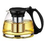 Tebery - Prensa para hacer té con tetera de cristal, infusor incorporado y filtro extraíble - 1100 ml