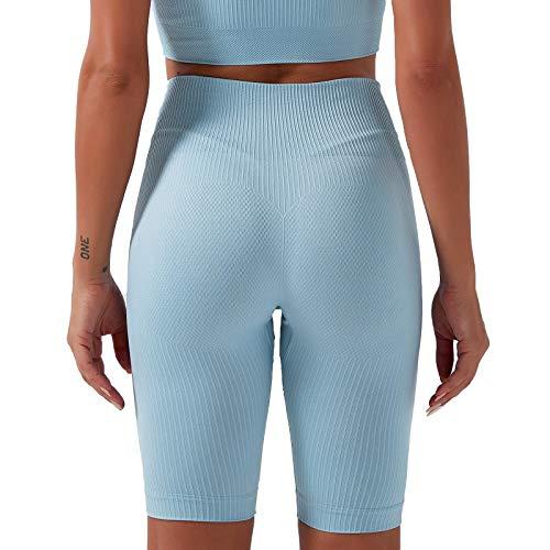 AOZLOVEC Pantalones de mujer Pantalones de yoga sin costuras Cintura alta Ropa de yoga de secado rápido Medias de fitness Yoga Running Athletic Gym L BU