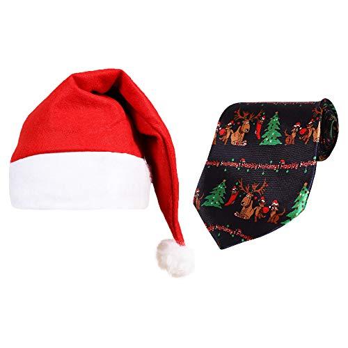 Sombrero de Navidad con lazo y sombrero de Navidad y corbata de felices festivos. Divertido relleno de calcetín para hombre. Regalo divertido de Santa secreto para hombre.