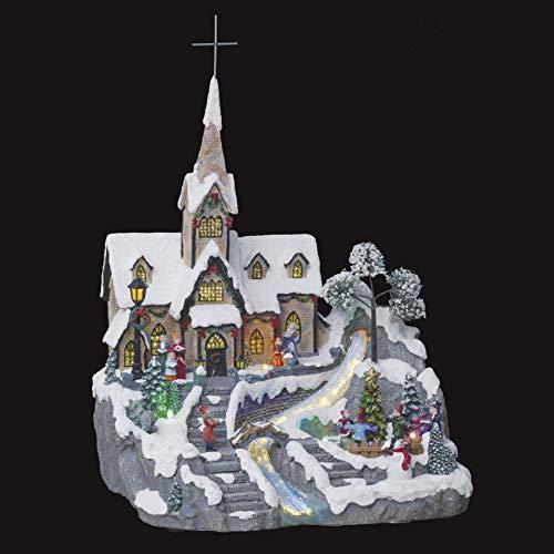 Fééric Lights and Christmas - Decorazione natalizia con 9 LED e animati, motivo: chiesa del villaggio