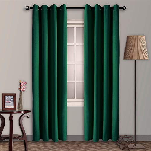 SNITIE Emerald Green Velvet Blackout Curtains with Grommet, Super Soft Thermal Insualted Noise Reducing Thick Velvet Drapes for Living Room and Bedroom, Set of 2 Panels, 52 x 84 Inch Long