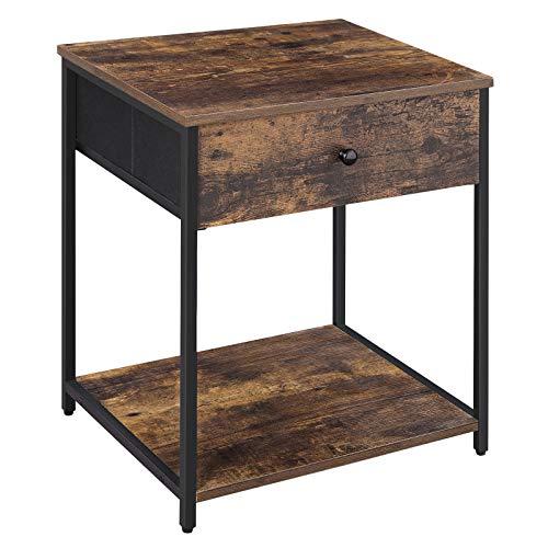 SONGMICS Nachttisch Nachttisch mit Stoffschublade Beistelltisch mit Holzplatte und Front, Industrie-Stil, rustikal braun und schwarz LGS20H