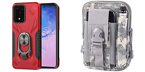 Bemz [Dual Series] Case for Samsung Galaxy S20 Ultra Bundle: Bottle Opener Stand Magnetic Mount Ready Cover with 600D Waterproof Nylon Material Tactical Pouch and Lens Wipe - (Red/ACU Pixel Camo)