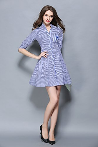 Women's Blue Stripes 2/3 Sleeve V neck Casual Blouse Top A-Line Swing Dress