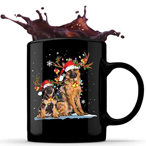 N\A Tazza da caffè in Ceramica da 11 Once di Natale con Renne di Pastore Tedesco, Tazza da tè, Tazze di Cioccolato, Tazze con Impugnatura a C per Bevande Calde e Fredde, Idea Regalo Unica