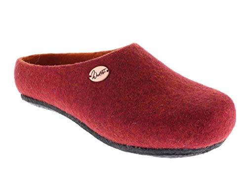 WoolFit Handgefilzte Pantoffeln 'Step' mit Filz-Latex Sohle und extra dicken Einlegesohle, rot, Gr. 37