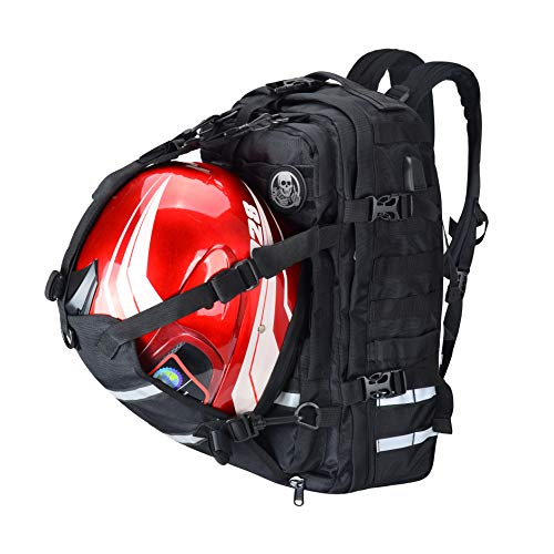 Goldfire V2 Waterproof Rechargeable Large Capacity Expandable Motorcycle Cycling Helmet/Laptop Backpack College Casual Daypack Travel Business Work Bag With USB Port Military Molle Systerm (Black)