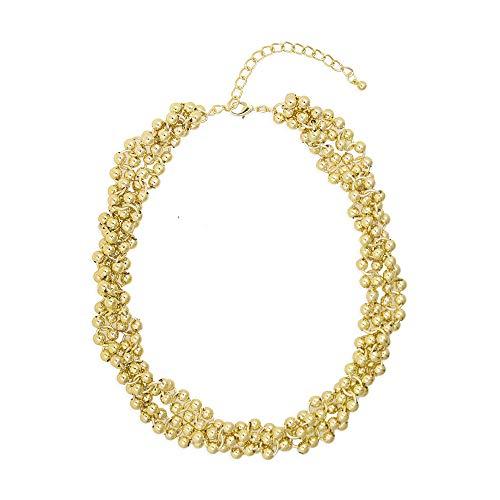 HNCZ Collar de Metal Estilo Rock Collar de Cadena Hecho a Mano de Cadena Trenzada de Cuentas Redondas