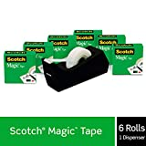 Scotch Brand Magic Tape with Black Dispenser, 6 Refill Rolls, Numerous Applications, Invisible, Engineered for...