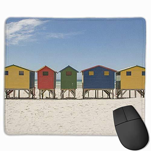 Jujupasg-Mauspad, Rutschfestes, Wasserdichtes Mousepad Auf Gummibasis Für Laptops - Surfer Beach Huts Surfen