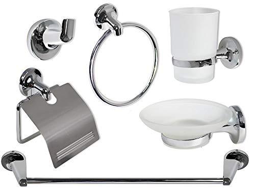 Vetrineinrete Set Bagno Moderno in Acciaio Cromato e Vetro Satinato Opaco 6 Pezzi Accessori arredo Bagno 69984 P48