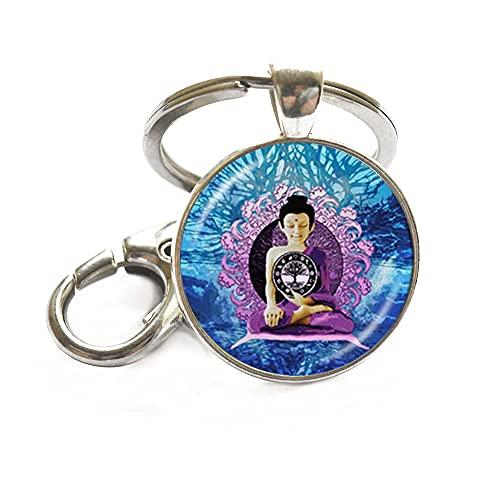JV51 Porte-clés Bouddha de méditation Arbre de vie Zen Bouddhisme Religieux Cabochon en verre Art Chaîne Porte-clés Bijoux spirituels Yoga Bijoux Bouddha