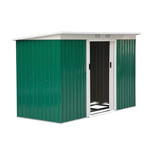 Outsunny Caseta de Jardín Tipo Cobertizo Metálico para Almacenamiento de Herramientas Base Incluida 277x130x173cm Acero