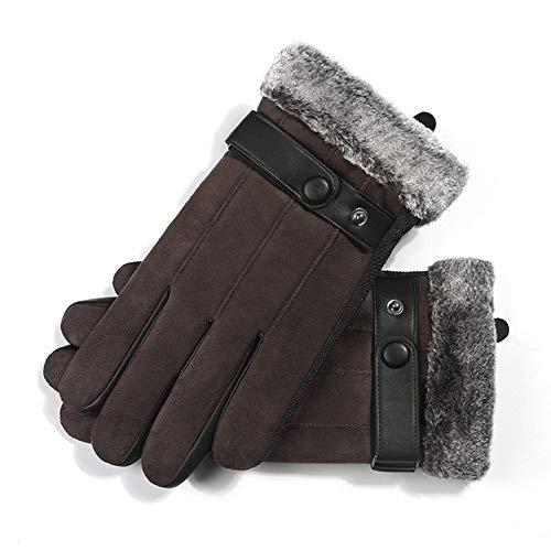GNXTNX Herren Wildlederhandschuhe rutschfeste Vollfingerhandschuhe Dickes Futter Winter Warm Und Winddicht Touchscreen Outdoor-Sport-Reithandschuhe,Braun