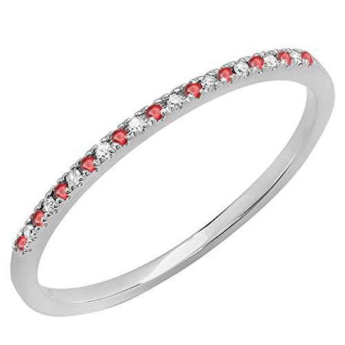 Dazzlingrock Collection 10K Round Ruby & White Diamond Ladies Dainty Anniversary Stackable Band, White Gold, Size 6.5