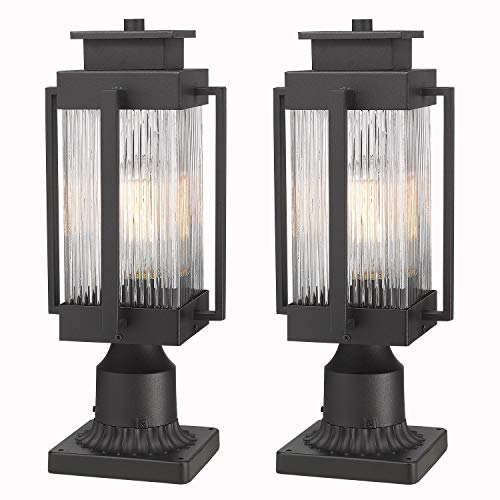 Osimir Outdoor Post Lantern, 2 Pack Modern Exterior Post Lamp with Pier Mount Base,Post Light in Black Finish with Clear Ribbed Glass, 7