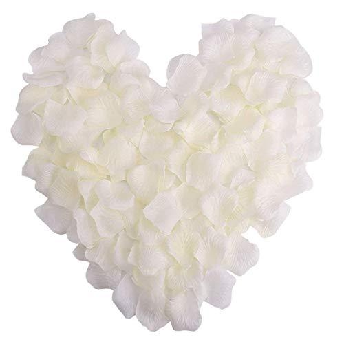 Gudotra 3000pz Petali di Rosa Artificiali in Tessuti Non Tessuti per Matrimonio Decorazione Sfondo Fotografie e Scenografie (Bianco Latte)