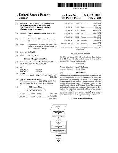 Method, apparatus, and computer program product for solving equation system models using spreadsheet software: United States Patent 9892108 (English Edition)