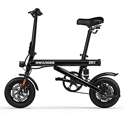 """METAKOO Electric Bike M1, 12"""" Folding Electric Bicycle with Rear Suspension, Top Speed 15mph, Up to 37miles Travel Range, City Electric Commuter Bike with Headlight and Tail Light"""