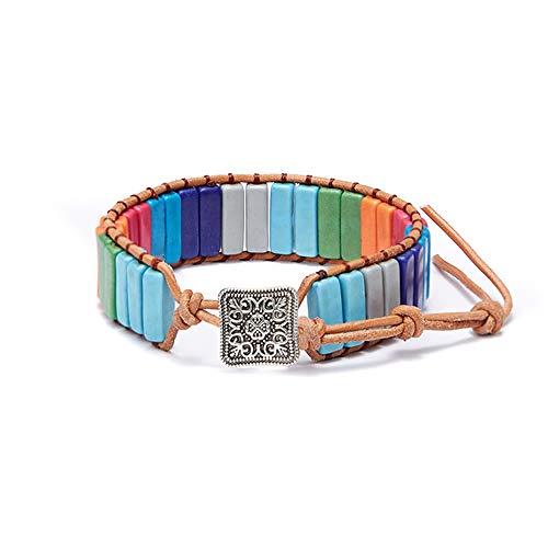 ZWXDMY 7 Chakra Armband Leder Schnalle Reiki Mandala Angst Relief Glücksbringer Yoga Balance Armbänder Energie Natürliche Perlen Meditation Jaspis Perlen Wickeln Buddha Mann Frau