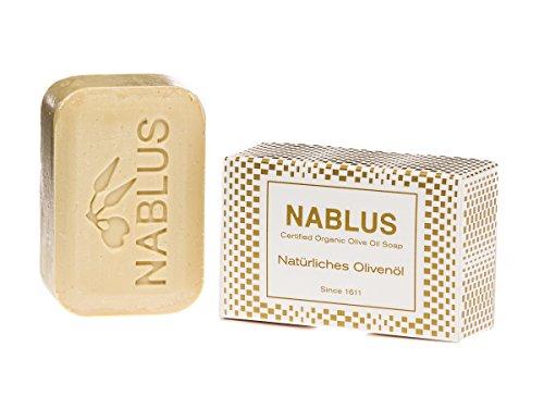 Nablus Soap natürliche Olivenölseife, Sorte: natürliches Olivenöl, handgemacht und palmölfrei, 100g