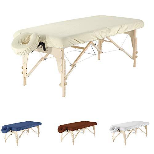 Massageliegenbezug Set Aus Mikrofaser Für Die Massageliege Und Kopfstütze Massagebank Bezug 216x88 cm Mit Kopfstützbezug 33x33 cm Spannbezug Für Massage (Beige)