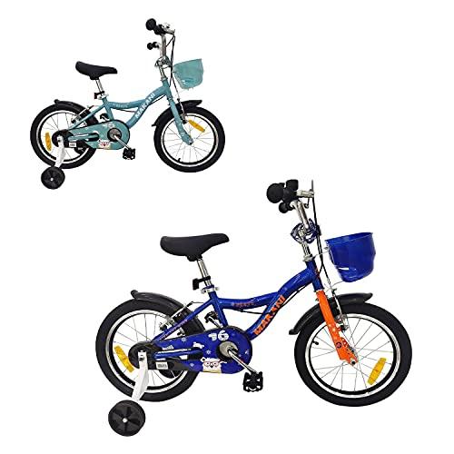 Makani, Bicicleta Infantil Benuta 16 Pulgadas Ruedas Entrenamiento Campana Cesta, Color:Azul Oscuro