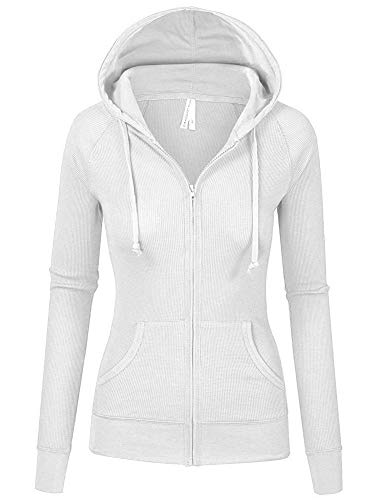 TOP LEGGING TL Women's Solid Warm Thin Thermal Knitted Casual Zip-Up Hoodie Jacket, 35-white, Large