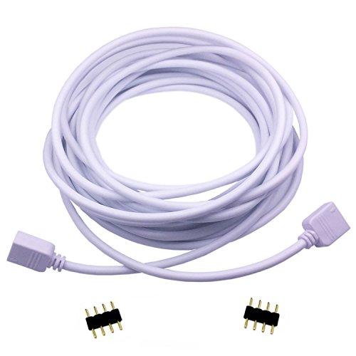 LitaElek 4 polig LED Verlängerungskabel 5m RGB LED Streifen Verlängerung LED Stripe Verbinder LED Band Anschluss LED Strip Kable LED Bänder Verbindungskable für RGB 5050 3528 2835 LED Lichtleiste,Weiß
