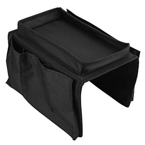 Multifunctional Sofa Storage Bag with Cup Holder Tray Large Capacity Great for Sorting Magazines Books(black)