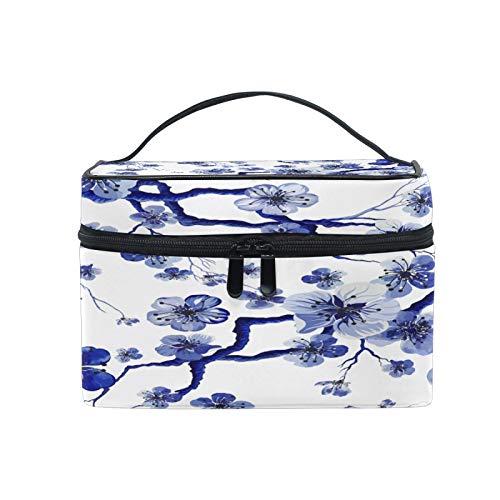 Pixiuxiu - Bolsa de maquillaje, diseño de flor de cerezo japonés, tamaño grande, asa de viaje, bolsa personalizada con compartimentos para niñas adolescentes y mujeres