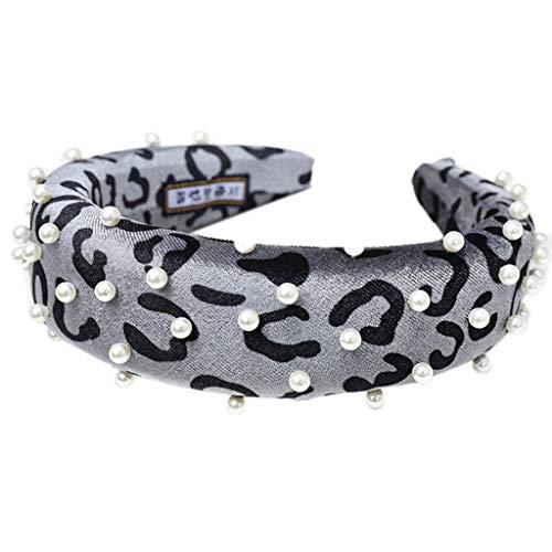 MIKI-Z - Diadema de Terciopelo con Estampado de Leopardo, con Esponja Gruesa, Acolchada y Ancha, con Perlas de imitación