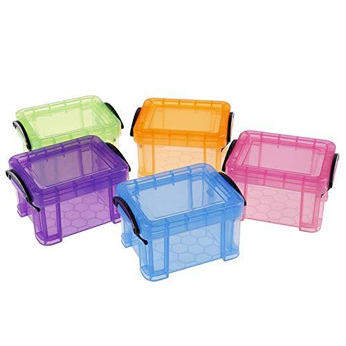 Inicio Mini Candado Caja De Plástico Cajas De Almacenamiento Súper Lindas Organizador para Caja De Joyería De Juguete Accesorios Caja De Acabado, 5 Piezas