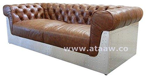AVIATOR STYLE Sofa mit Braun Leder Aviator Möbel