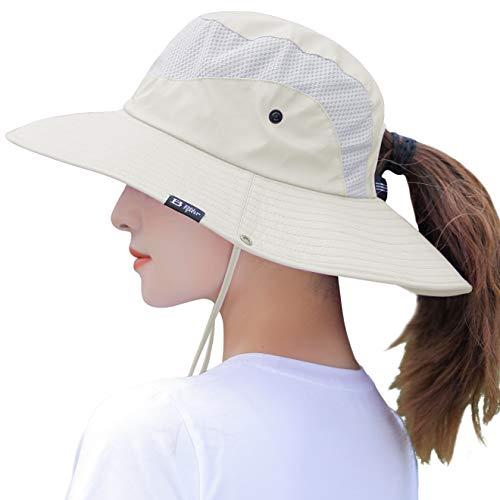 Women's Summer Sun Hat Wide Brim UV UPF50 Protection Hats Foldable Packable Ponytail Bucket Cap for Safari Beach Fishing Gardening Beige
