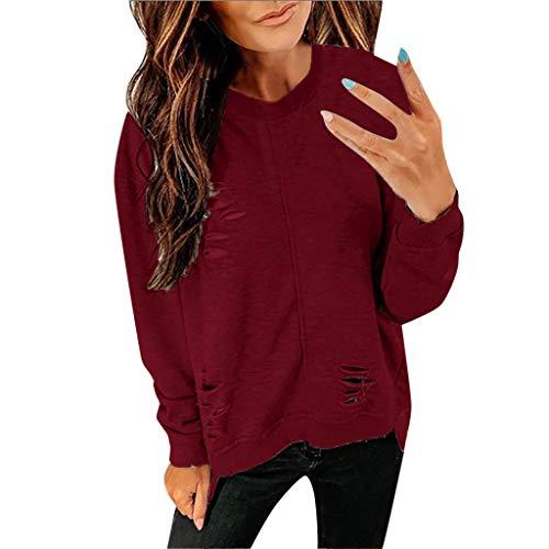manadlian Sweat-Shirt Femmes Chic Chemise Manches Longues Col V T Shirts Casual Pas Cher Hauts Trou de la Personnalité Veste Outwear