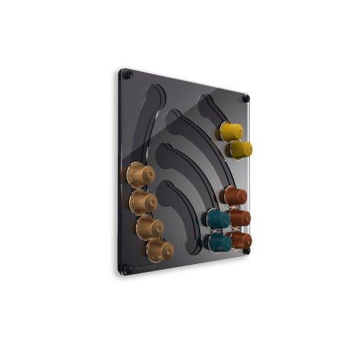 Plexidisplays 1303112 Wand-Kapselhalter für Nespresso-Kapseln, Design Wasserfall Mini, 29 x 29 cm, schwarz