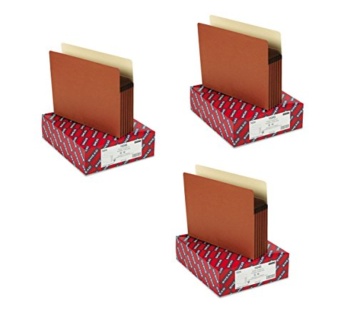 """Smead File Pocket, Straight-Cut Tab, 5-1/4"""" Expansion, Letter Size, Redrope, 10 per Box, 3 Boxes, 30 Total (73234)"""