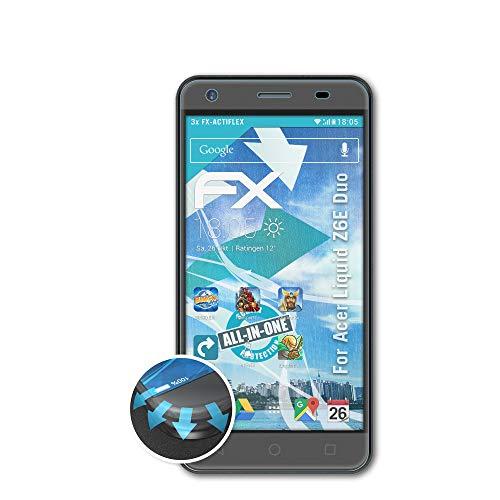 atFolix Schutzfolie kompatibel mit Acer Liquid Z6E Duo Folie, ultraklare & Flexible FX Bildschirmschutzfolie (3X)