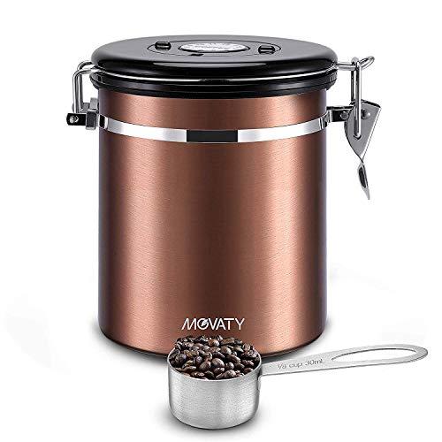 Movaty Bote para café con cuchara, Café hermética, contenedor de café de acero inoxidable, aroma lata, bote, vacío lata
