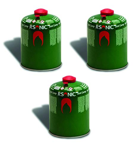 RSonic Schraubventilkartusche, Camping-Gas Butan-Propan/Ventil Gas Kartusche für Campingkocher, Gaskartusche mit Schraubventil Gewinde 100g-230g-450g (3, 450g)