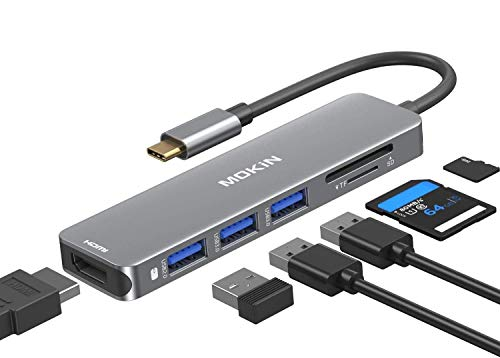 USB C to HDMI Adapter, MOKiN 6 in 1 USB C Hub 4K @60Hz for MacBook Pro 2020/2019/2018, MacBook Air 2020/2019/2018, Ipad Pro 2020, Surface Pro 7, Dell XPS 13 15, USB-C to 4K HDMI, SD/TF and 3 USB Ports