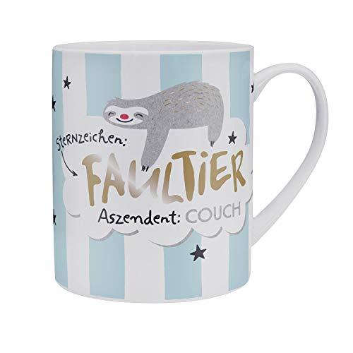 H:)PPY life 46231 XL-Tasse mit Spruch Sternzeichen Faultier, Porzellan, 60 cl, Geschenk-Tasse, blau
