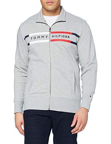 Tommy Hilfiger Logo Zip Through Maglione, Medium Grey Heather, L Uomo