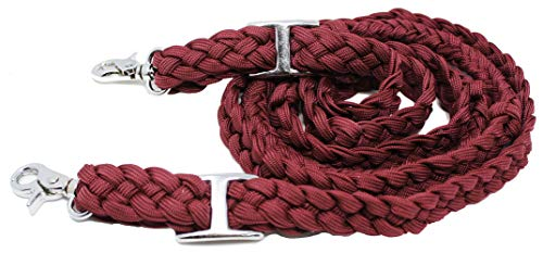 CHALLENGER Roping Knotted Horse Tack Western Barrel Reins Nylon Braided Burgundy 8ft 607167