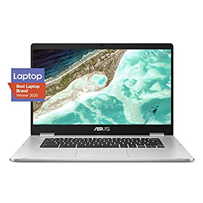 "ASUS Chromebook C523 Laptop, 15.6"" HD NanoEdge-Display with 180 Degree-Hinge Intel Dual Core Celeron-Processor, 4GB-RAM, 32GB Storage, Silver Color, C523NA-DH02"